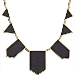 House of Harlow 5 Station Necklace Black and Gold